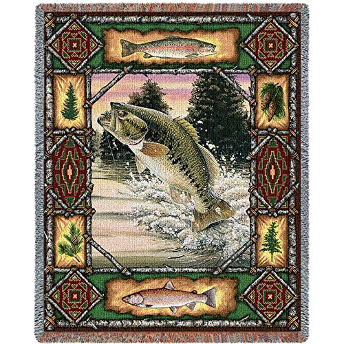 Pheasant Lodge Tapestry Throw (Pure Country Inc. Fish Lodge Bass Blanket Tapestry Throw)