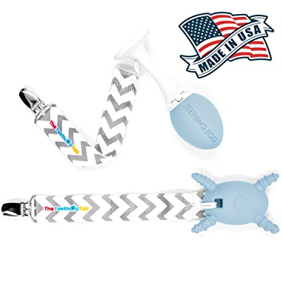 The Teething Egg - Official Product, Made in The USA – 3 Product Bundle in Baby Blue – Includes The Grippie Stick and The Molar Magician: Toys & Games