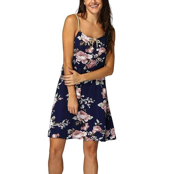 0bb457fbf2fae OHQ Robe à Bretelles Pour Femmes Bleu Foncé Sans Manches Imprimé Floral  Moulante Courtes Longues Chic