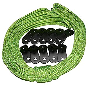 Guyline Tensioner Kit by Tent Tools | 50ft Ultra Reflective Tent Rope with 10 Aluminum Guyline Adjusters | Incredible Strength & Safety in One Package (Green Ultra Rope Kit, 50)