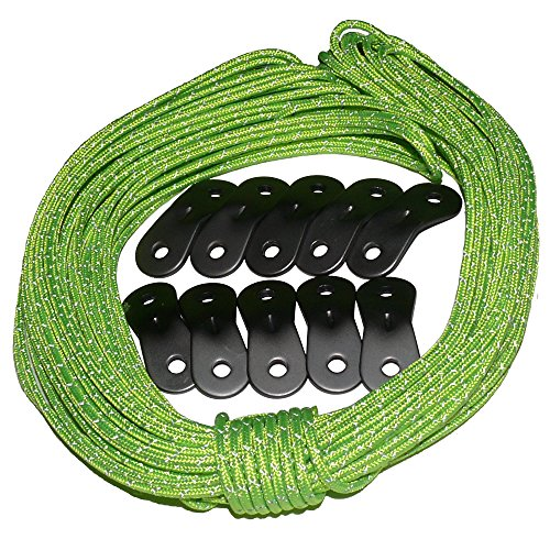 Tent Tools Guyline Adjuster Kit - 50ft Reflective Tent Rope with 10 Aluminum Tensioners (Green Ultra Rope Kit, (Glow In The Dark Toy Parachute)