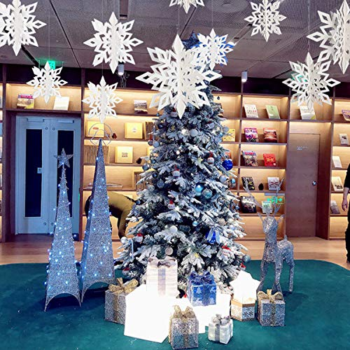 Martine Mall Snowflake Pendant, Christmas Tree Decoration Hanging Hexagonal Embellishments with String (White)