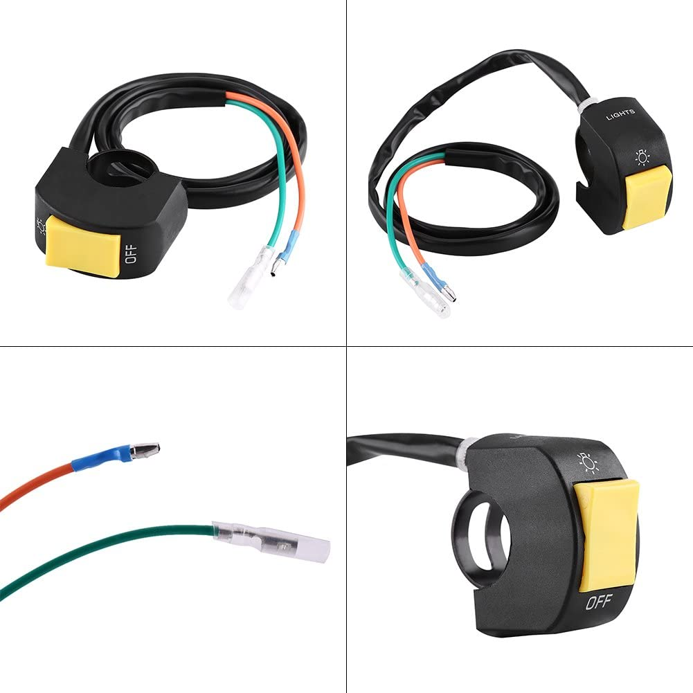Giallo Interruttore di controllo del manubrio Qiilu Moto 7//8inch Montaggio del manubrio Interruttore di accensione//spegnimento del faro a LED con pulsante