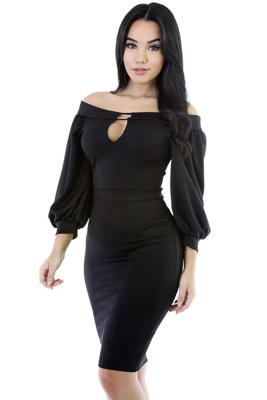 0659fb95cc24 Black Puffs Peep Hole Off Shoulder Midi Bodycon Dress at Amazon Women s  Clothing store