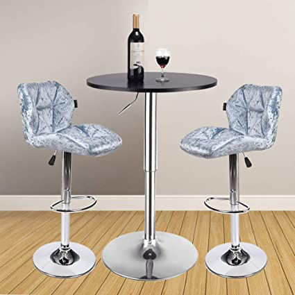 3 Pieces Bar Table Set 24 inch Round Height Adjustable Steel Dining Bistro  Kitchen Table with 2 Pieces Velvet Bar Stools (Blue Barstool + Black Pub ...
