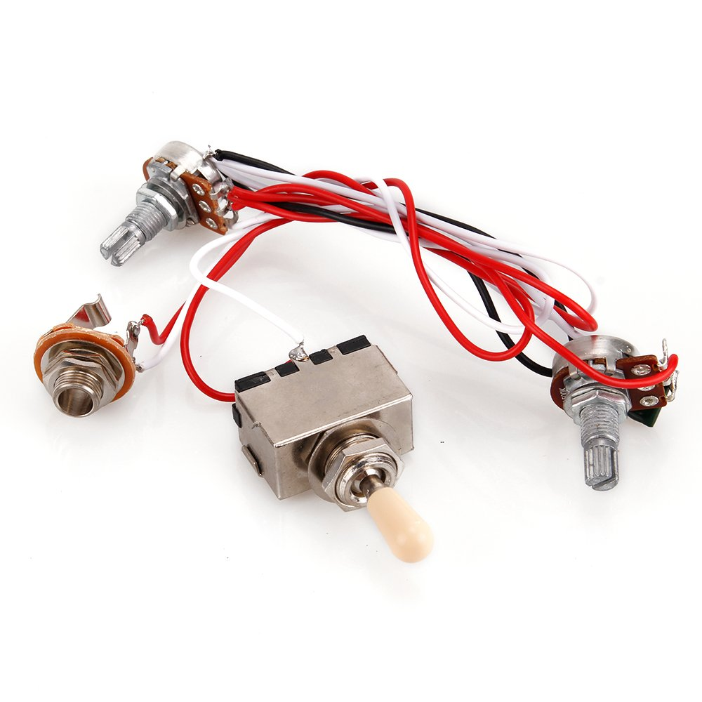 3 Way Toggle Switch 500k Pots Wiring Harness For Lp 2 Humbucker Guitar Volume Tone Jack Musical Instruments