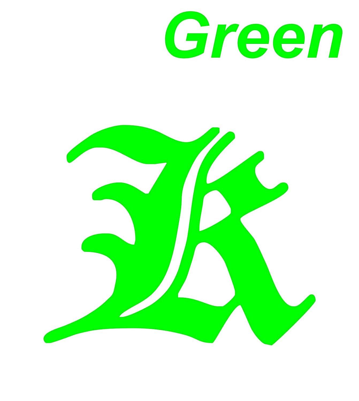 Amazon com decal vinyl sticker k font alphabet engli 7 9 x 5 5 green car bike decals stickers automotive