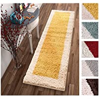 Porta Border Modern Geometric Shag 2x7 ( 2 x 73 Runner ) Area Rug Gold Beige Plush Easy Care Thick Soft Plush Living Room