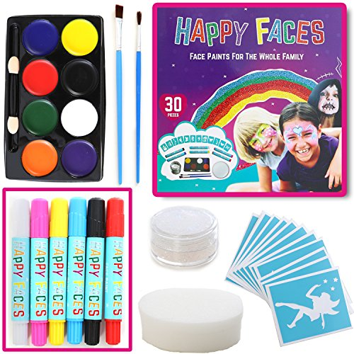 FACE PAINT SET: 30 Piece Kit Including Face Paints, Face Painting Pens, Brushes, Sponge, Stencils & Guide Book. Ideal As Birthday, Halloween, Dressing Up Gift - Tone Skin Guide
