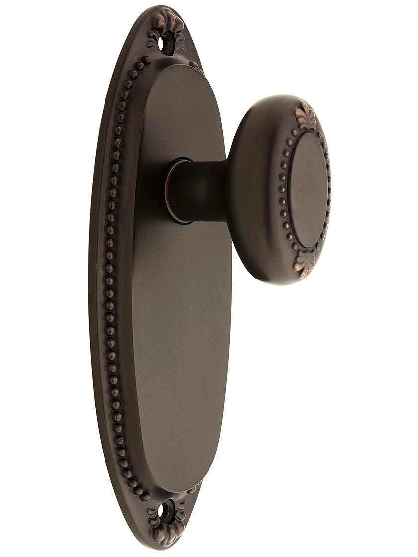 Lydian Door Set With Beaded Oval Knobs Privacy Oil-Rubbed Bronze. Doorsets.