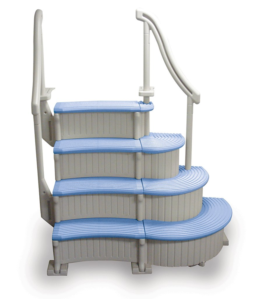 Confer Curve Complete System Above Ground Swimming Pool Steps with Blue Treads