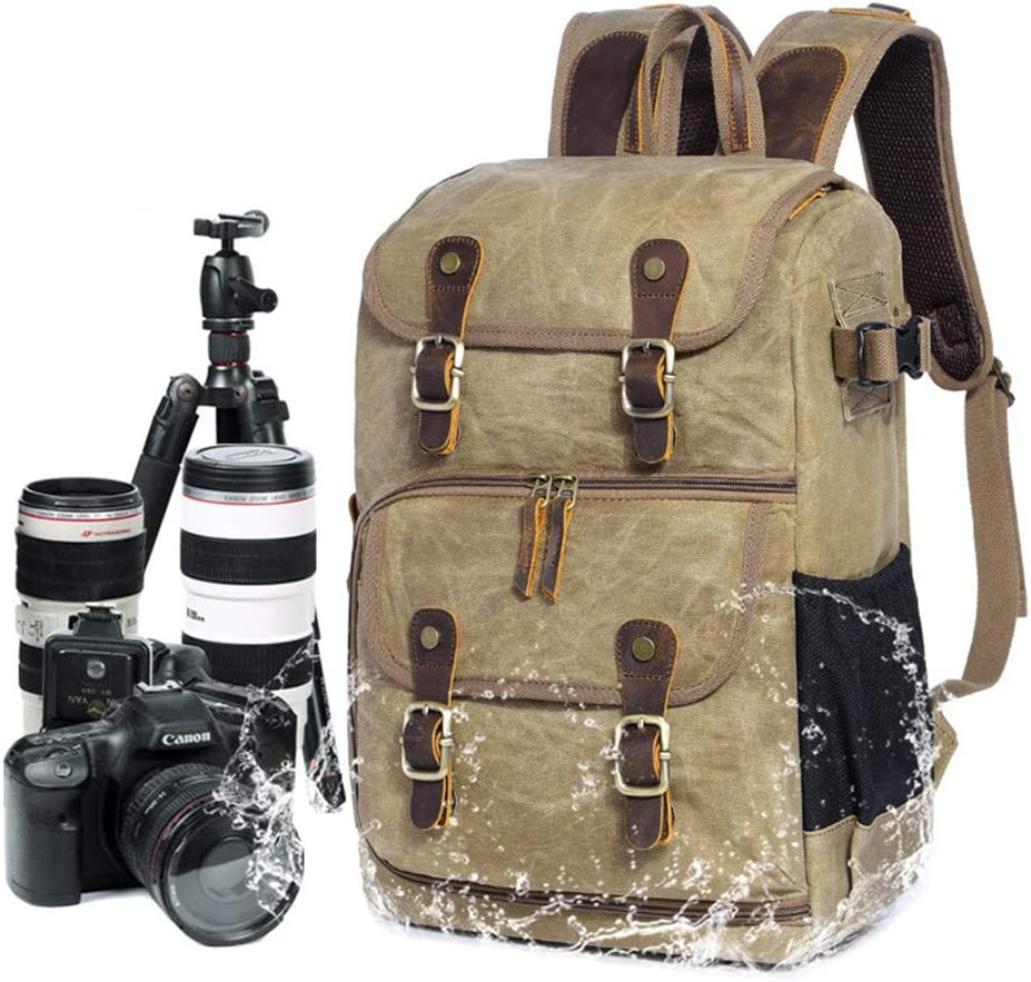 DYHQQ Camera Backpack Waterproof Vintage for DSLR SLR Cameras,Laptops,Lenses and Tripod,B