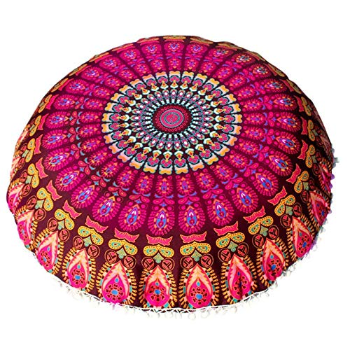 Cushion Cover - Pillow Cover 80 80cm Large Mandala Floor Pillows Round Bohemian Meditation Cushion Ottoman Pouf Drip - 20x20 Brown Morrocan Furniture Sizes Couch Black Seat Easter Green Unic Brown Zebra Oblong Pillow