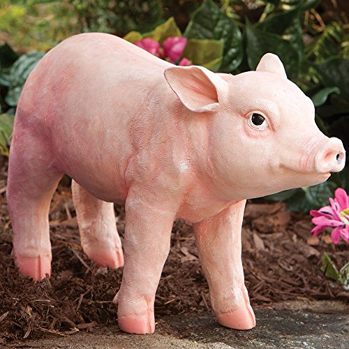Sound Sculptures - Bits and Pieces - Motion Sensor Pig Garden Sculpture - Garden Décor - Animal Statue - Pig Hand Painted Polyresin Piglet, Realistic