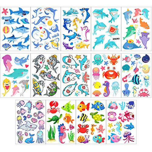 Under The Sea Tattoos (Phogary Kids Temporary Tattoos(100pcs+), Sea World Theme Tattoos (14 Sheets) - Fish, Shark, Turtle, Seahorse, Sea Star, Octopus, Crab - Marine Life Patterns Fake Waterproof Tattoos for Boys)
