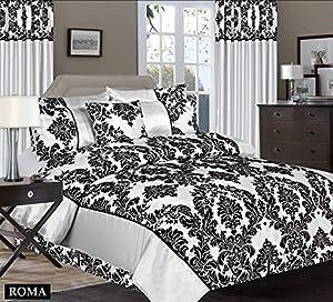 Royal Damask Single Duvet Cover Set Silver Black Bedding