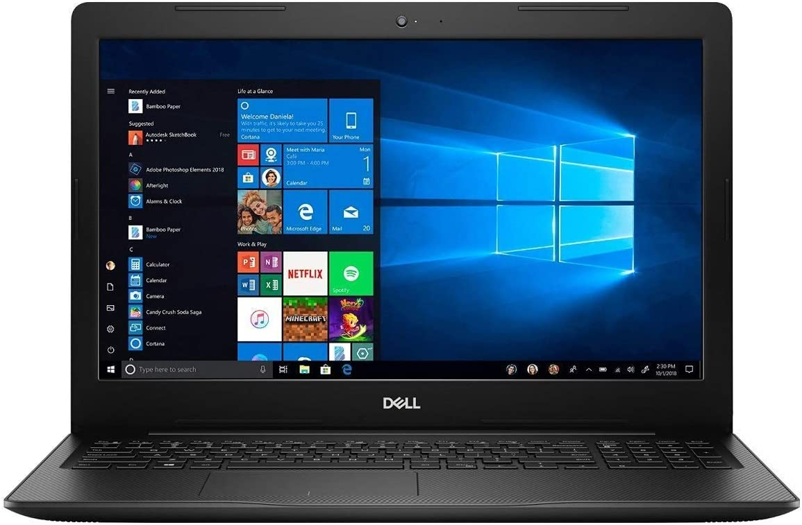 "Dell Inspiron 15 3000 Laptop, 15.6"" FHD Touch-Screen, Intel Core i3 Processor, 8GB RAM, 256GB SSD, Numeric keypad, Fingerprint Reader, Media Card Reader, USB 3.1 2×USB, Black, Windows 10 (Renewed)"