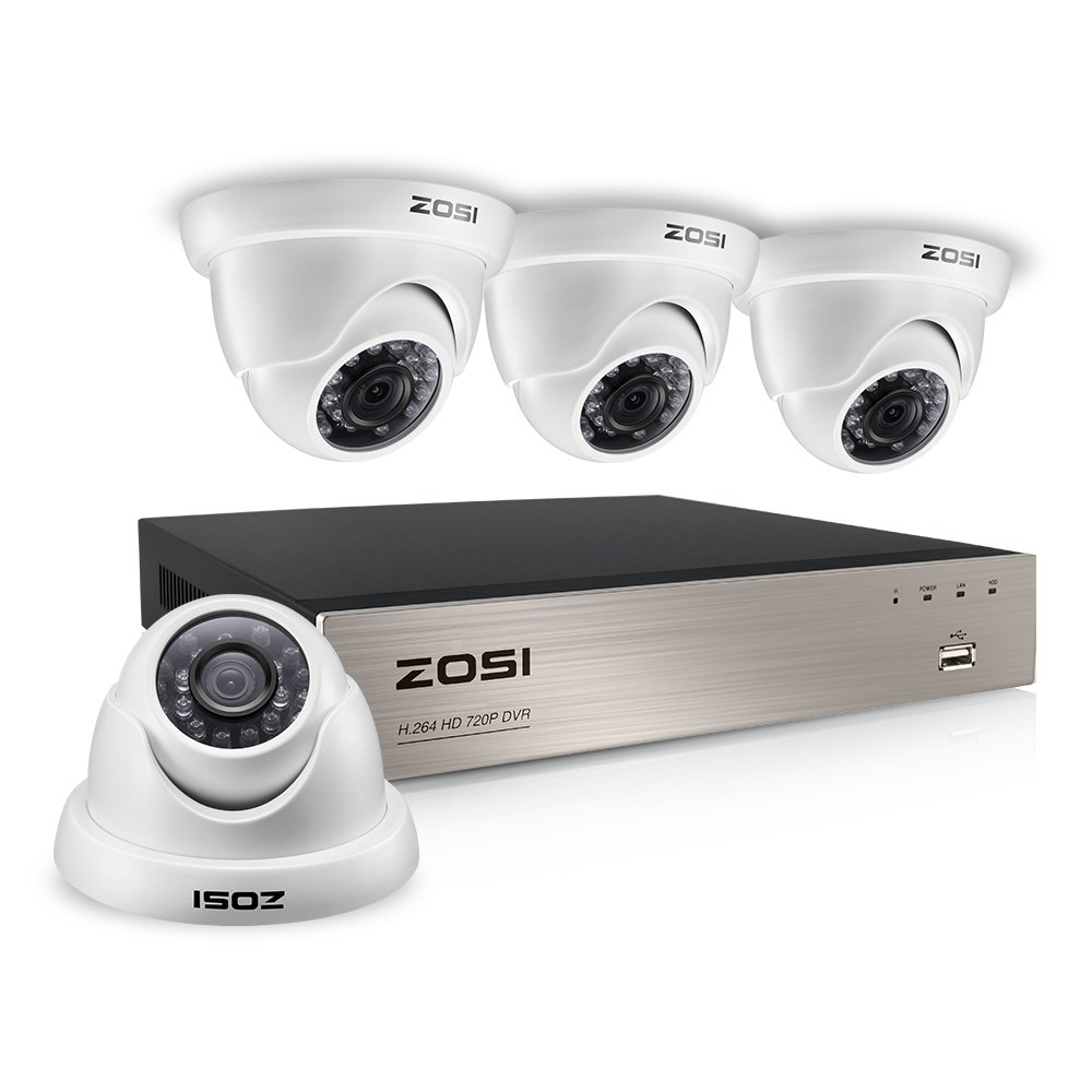 ZOSI 8CH HD-TVI 1080N Video CCTV DVR Security System w/ 4pcs 1.0 Megapixel 720P Indoor Outdoor Dome Cameras 65ft(20m) Night Vision,Smartphone Remote View,NO Hard Drive (White)