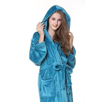 FEI Vestido de Franela de otoño e Invierno Hombre Ropa de Dormir con Capucha Pareja Albornoz