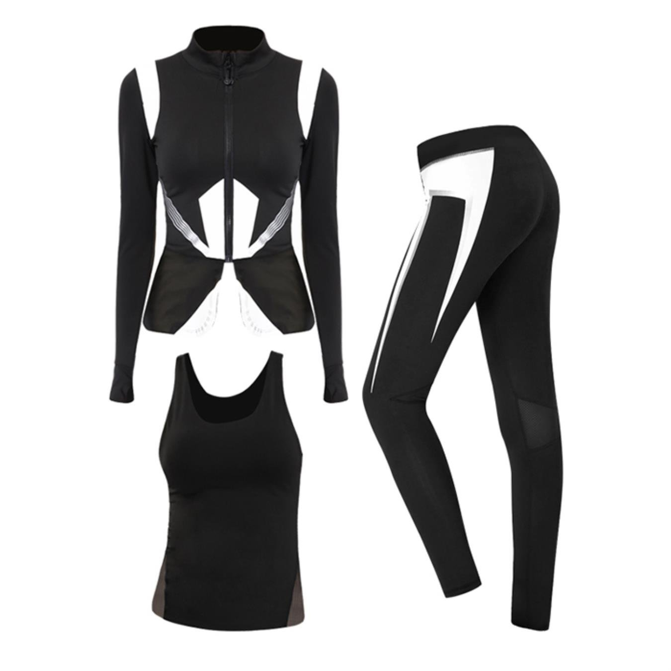 Women 3 Pieces Hit Color Stand Collar Zipper Running Jacket Sexy Hollow Yoga Vest Tight Pants