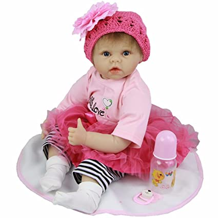 6a630dc7f Amazon.com  22 Inch Soft Silicone Reborn Baby Doll Realistic Newborn Babies  Girl Handmade Simulator Dolls Toy Kids Birthday Xmas Gift  Toys   Games