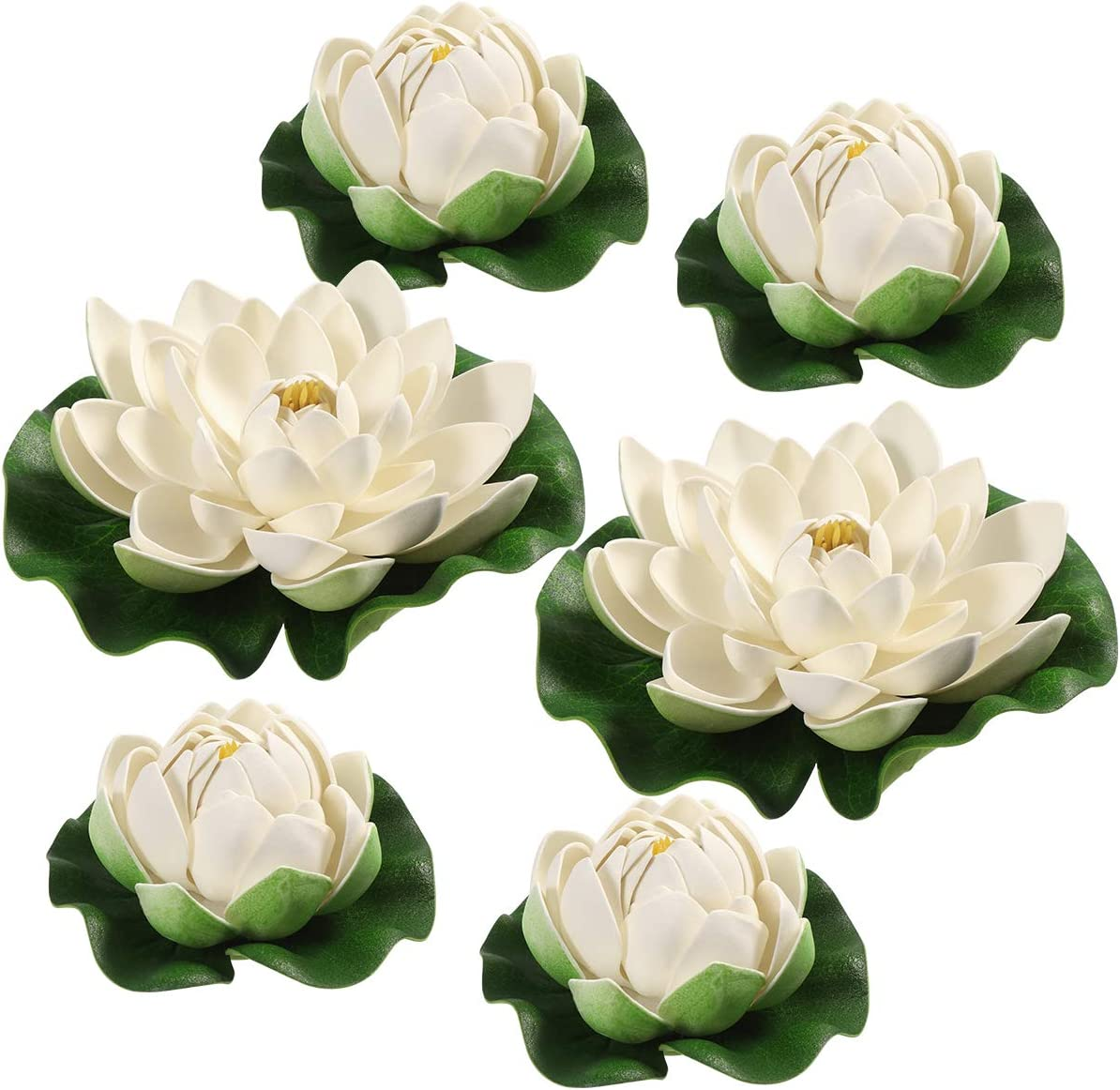 BESPORTBLE Artificial Flowers White Lotus Simulation Floating Pond Lotus for Decoration Indoor Outdoor Decor Ornaments,6PCS,17cm+10cm