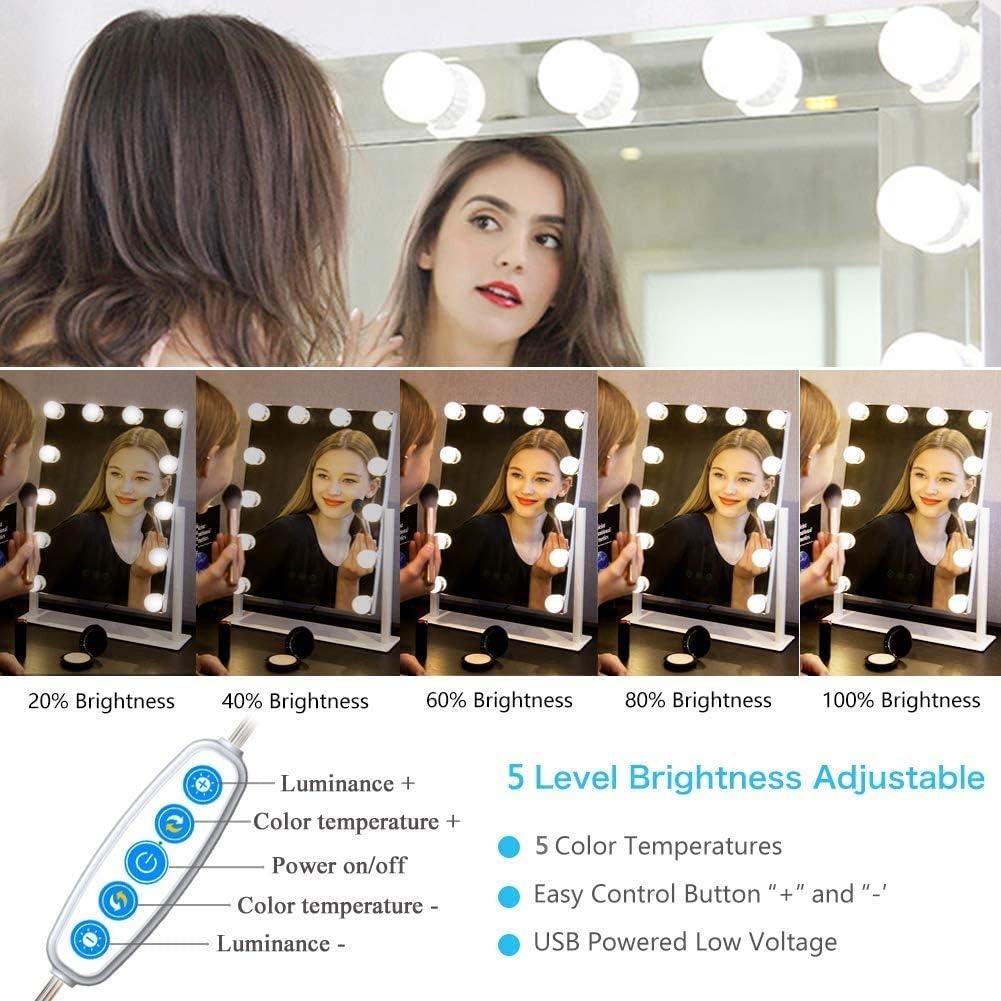 Lampe pour Miroir Cosm/étique Maquillage Salle de Bain Lumi/ère de Miroir AUA 10 Ampoules Hollywood Kit de Lumi/ère LED Dimmable Lampe de Miroir avec 5 Couleur Modes