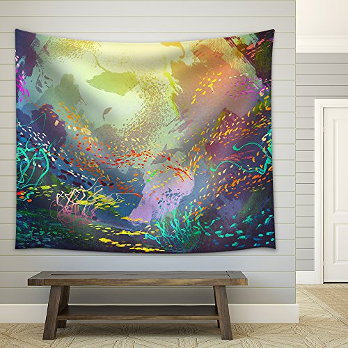 Illustration underwater with coral reef and colorful fish illustration painting Fabric Wall
