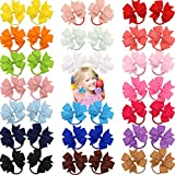 40Pcs 3.5'' Baby Girls Grosgrain Ribbon Hair Bows Tie Ponytail Holder Elastic Hair Bands in Pairs for Toddlers Kids Children