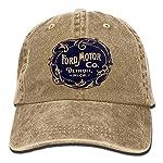 E-Isabel Vintage Ford Motor Company Detroit Retro Cool Adjustable Travel Cotton Washed Denim Caps Natural