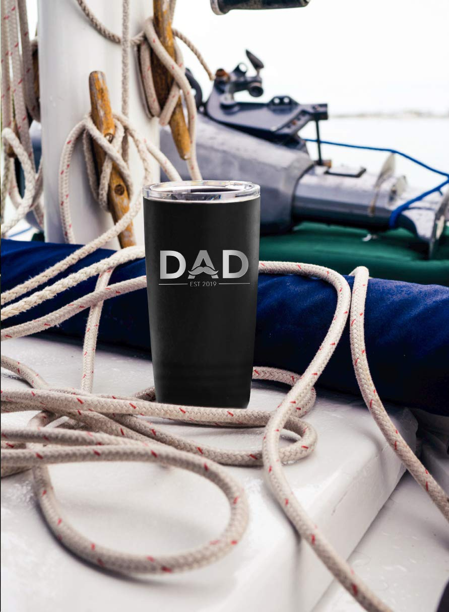 New Dad Gifts Ideas   First Time Dad Est. 2019   Dad to be 20 oz Black Stainless Steel Tumbler w/Lid   Daddy w/New Baby Gift   Expecting Daddy to be by Sodilly (Image #3)
