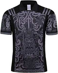 Axdwfd Rugby Suit Rugby Jersey,All Black Short Sleeve Home Jersey,New Zealand Football,Adult Sports Football Suit,Shirt Jersey Short Sleeve Football Shirt (Size : XL)