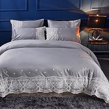 Puro algodón bordado boda un equipado de cuatro piezas de unión colcha Rosa Princesa puntilla y sábana de algodón ropa de cama de 1,8 metros,Depera gris plata,1.5 Colcha Cama 200*230 cm.: Amazon.es: