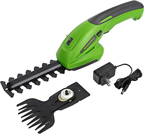 WORKPRO 7.2V 2-in-1 Cordless Grass Shear Shrubbery Trimmer – Handheld Hedge Trimmer, Rechargeable Lithium-Ion Battery and Charger Included