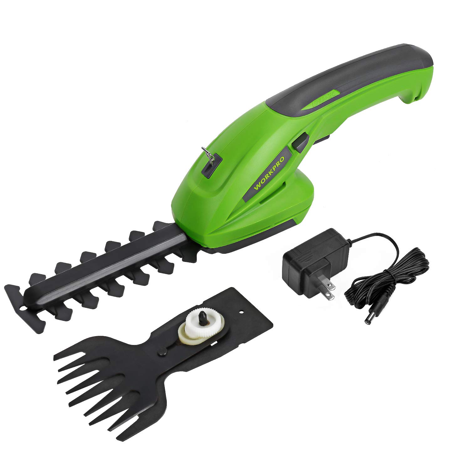 WORKPRO 7.2V 2-in-1 Cordless Grass Shear Shrubber Trimmer – Handheld Hedge Trimmer, Rechargeable Lithium-Ion Battery and Charger Included
