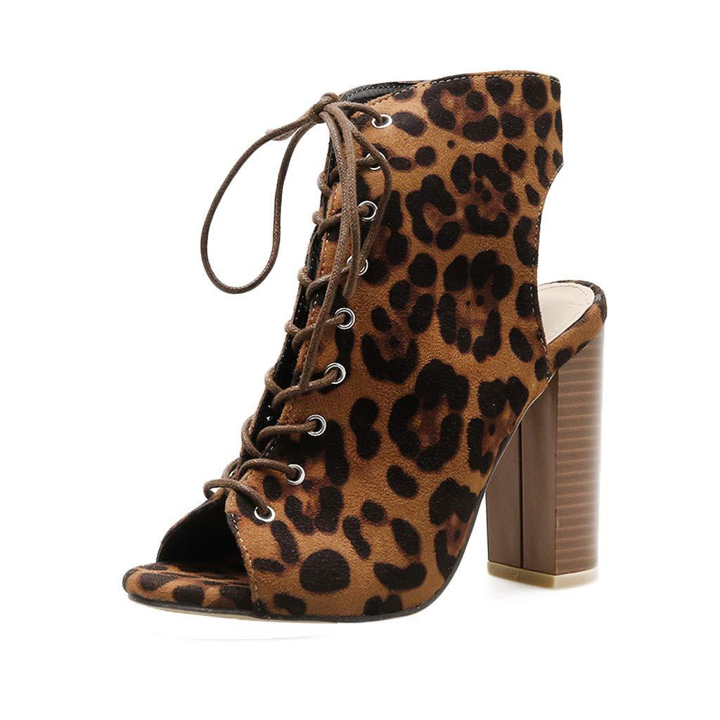 ✔ Hypothesis_X ☎ Women's Open Toe High Heels Dress Wedding Party Elegant Leopard Serpentine Printing High Heeled Sandals Brown