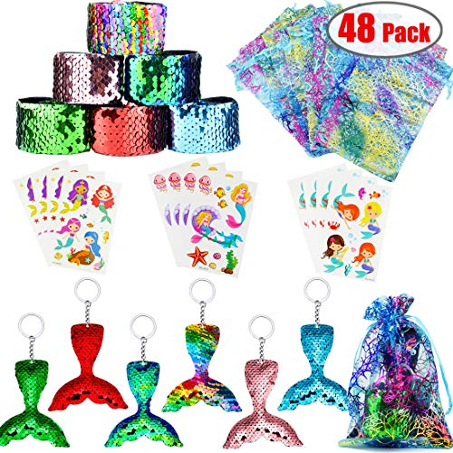 The Little Mermaid Party Favors (Danirora Mermaid Party Favors, [48 Pack]Mermaid Keychains for Kids Birthday Party Supplies Goodie Bag Fillers Carnival Prize for 12)