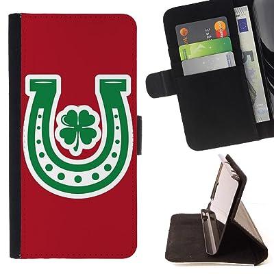 FJCases Herradura Trébol Suerte (Rojo) Carcasa Funda Billetera con Ranuras para Tarjetas y Soporte Plegable para HTC U11