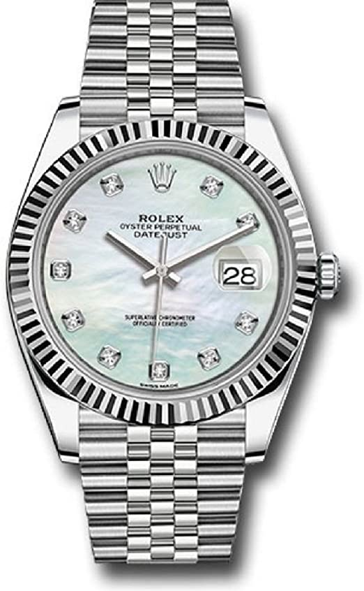Amazon.com ROLEX DATEJUST 41 STEEL AND WHITE GOLD MOTHER OF