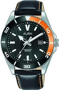 Alba AG8J41X1 Contrast Bezel Leather-Stitched Round Quartz Watch For Men - Black Orange