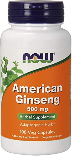 NOW Supplements, American Ginseng Panax quinquefolius 500 mg, 100 Veg Capsules