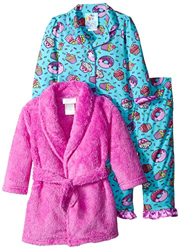 Baby Bunz Baby Girls' 3 Piece Cupcakes Robe and Pajama Set, Purple, 12 Months