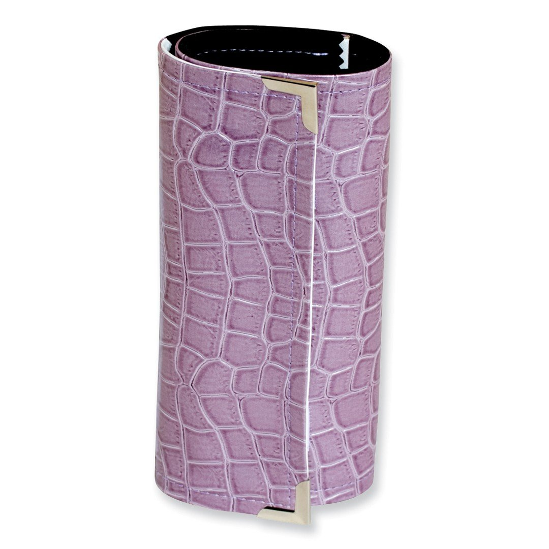 ICE CARATS Purple Crocodile Print Jewelry Roll Watch Tool Case Box Fabric Clutch Travel Faux Collection Fashion Jewelry Ideal Gifts For Women Gift Set From Heart