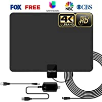 PACOSO HDTV Indoor Antenna, 50-100 Miles Amplified Digital TV Antenna with Detachable Amplifier Signal Booster. 4K HD 1080P VHF UHF All TVs Freeview Local Channels 13.2ft Coaxial Cable, Ink