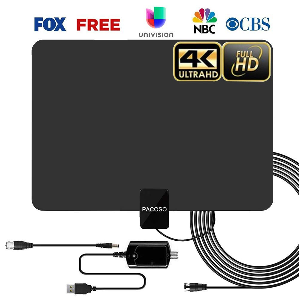 HDTV Indoor Antenna, 50-100 Miles Amplified Digital TV Antenna with Detachable Amplifier Signal Booster. 4K HD 1080P VHF UHF All TVs Freeview Local Channels 13.2ft Coaxial Cable, by PACOSO