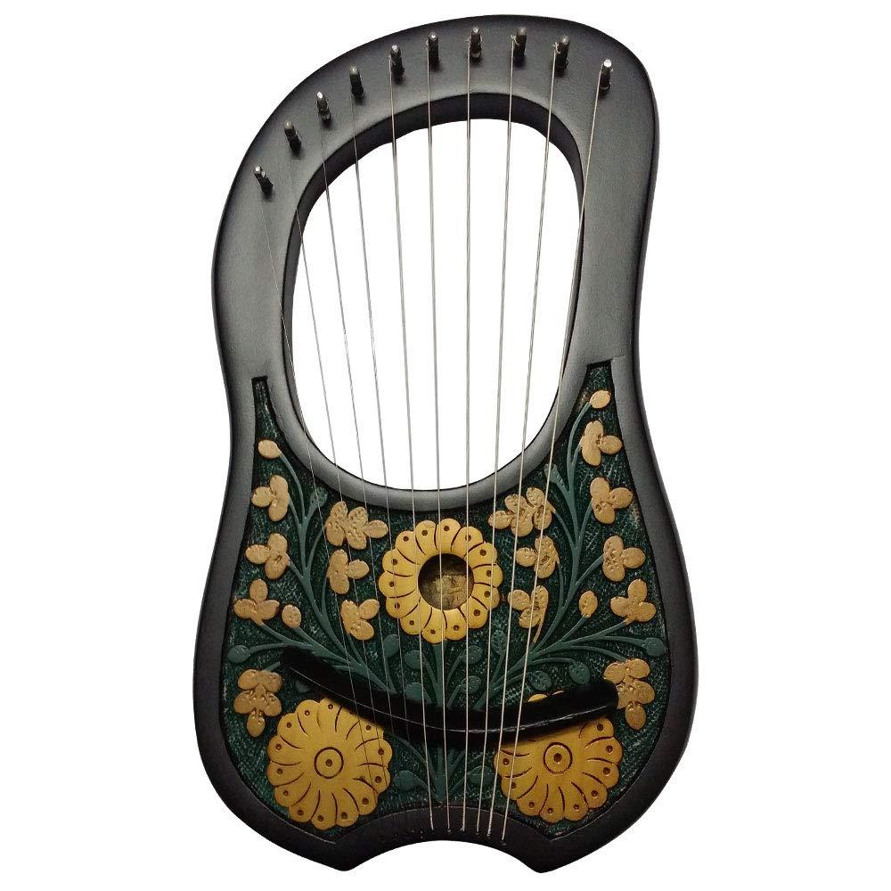 HS Lyre Harp 10 Metal String Instrument Shesham Wood/Lyra Harps/Lyre Harfe/Arpa (BLACK FLOWER DESIGN) by House Of Scotland