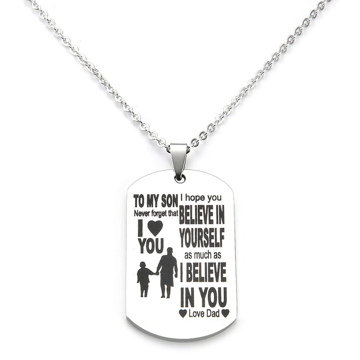 Best gift My Son Dog Tag From Dad Mens Boys Necklaces for Kids Child Teen Love Gift Military Air Force Pendant danjie Nkc033
