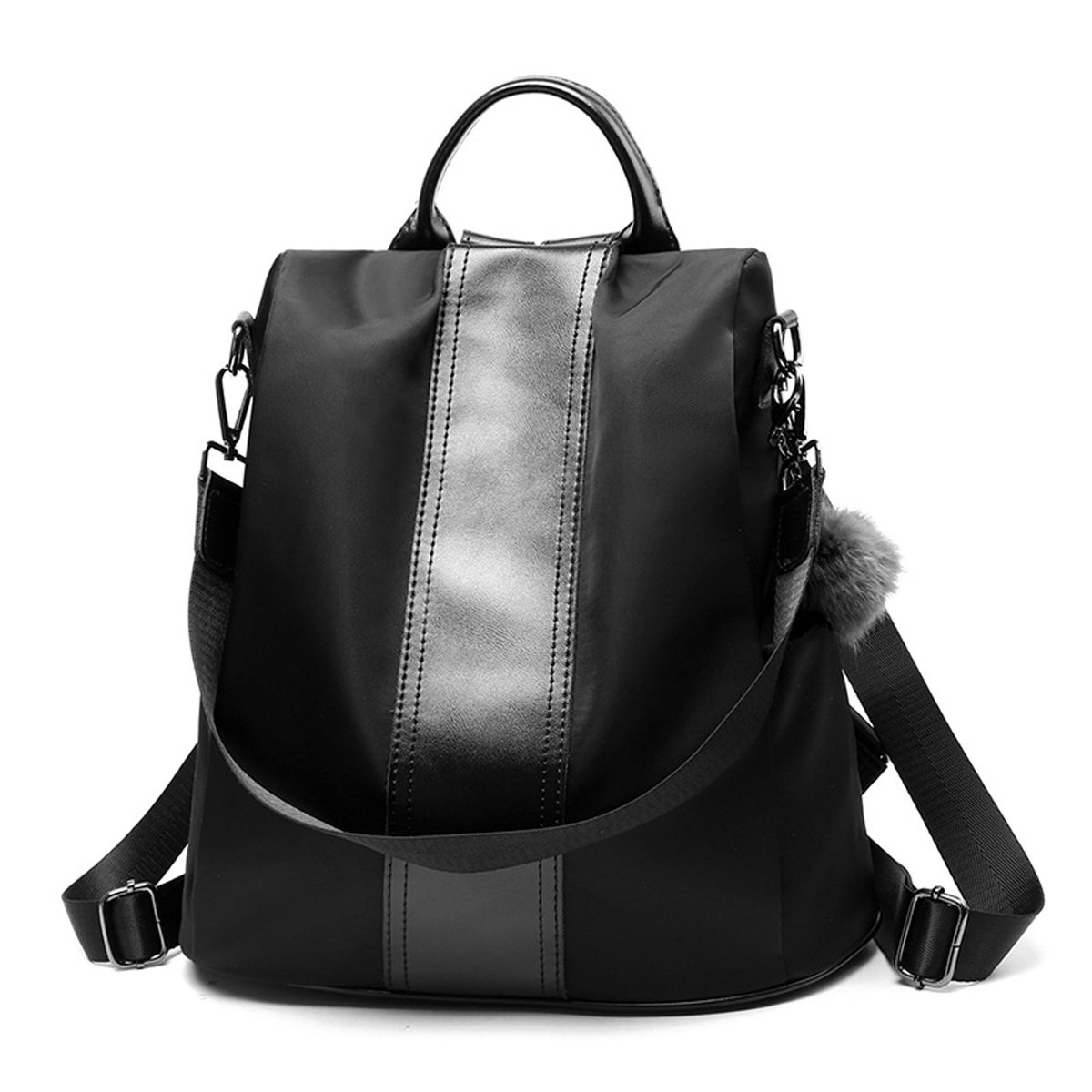 Nevenka Summer Backpack Purses for Women Zipper Close Polyester Cloth Shoulder Bags Top-handle Purse (Style 1, Black)