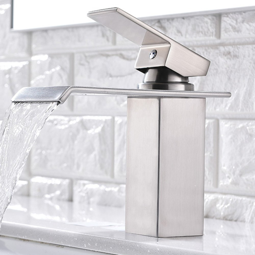 Friho Lead-Free Modern Commercial Brushed Nickel Single Hole Bathroom Vanity Waterfall Bathroom Sink Faucet,With Large Rectangular Spout