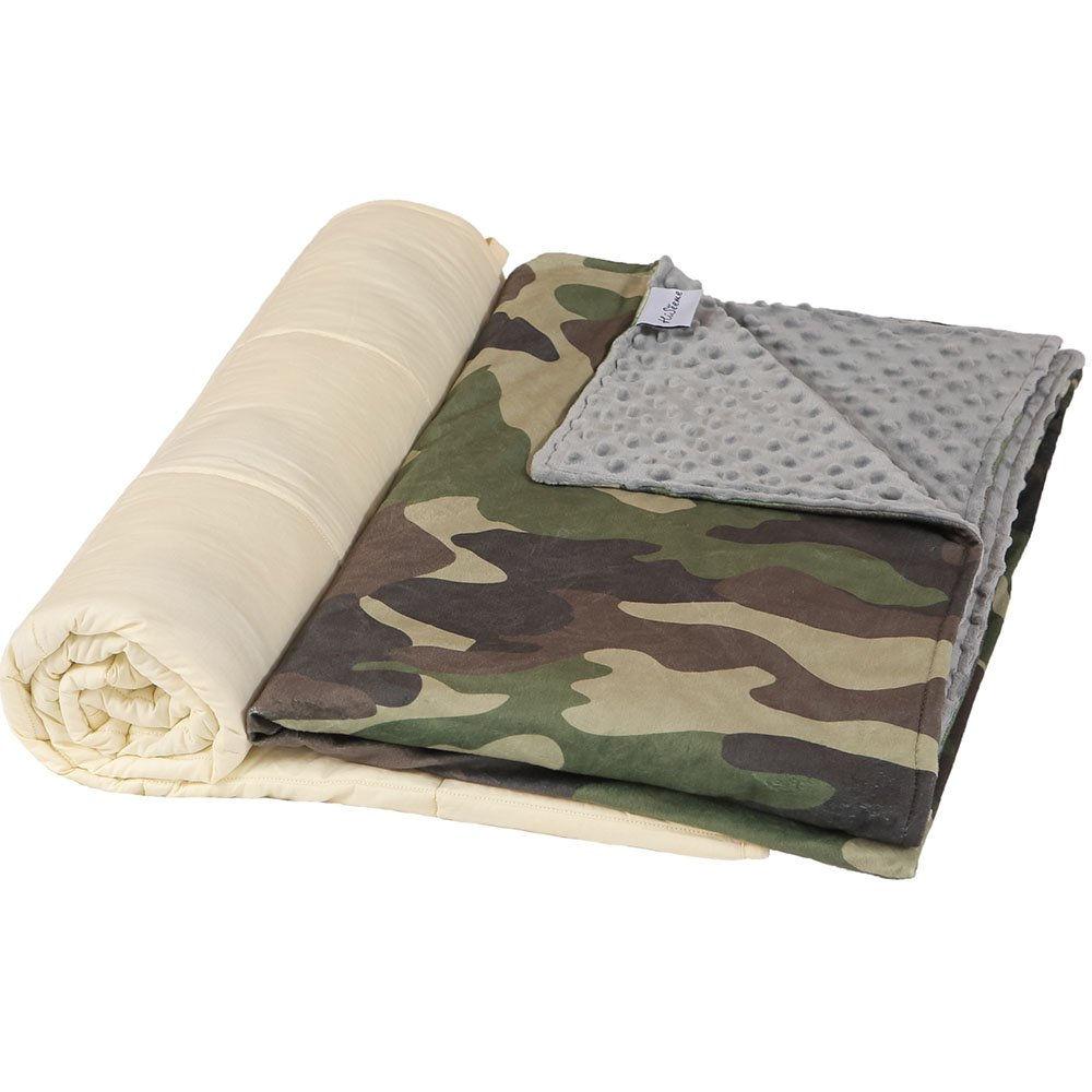 Hiseeme Weighted Blanket & Washable Removable Cover for Kids and Children (7 lbs, 41'' x 60'', Twin Size) Premium Super Soft Minky Dot - Camouflage